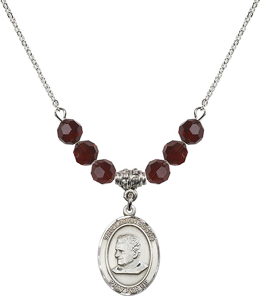 18-Inch Rhodium Plated Necklace with 6mm Garnet Birthstone Beads and Sterling Silver Saint John Bosco Charm.
