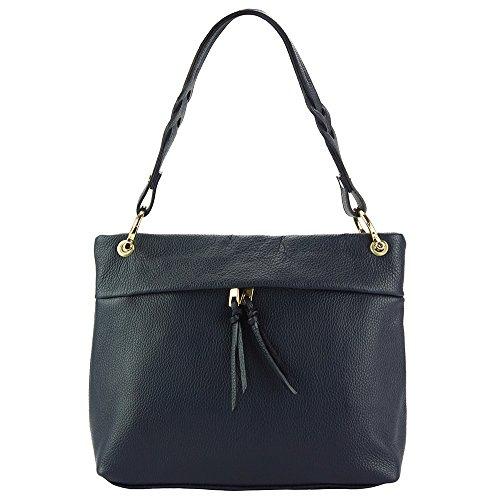 SHOULDER BAG MAFALDA WITH HIGH QUALITY LEATHER 9120 Dark Blue