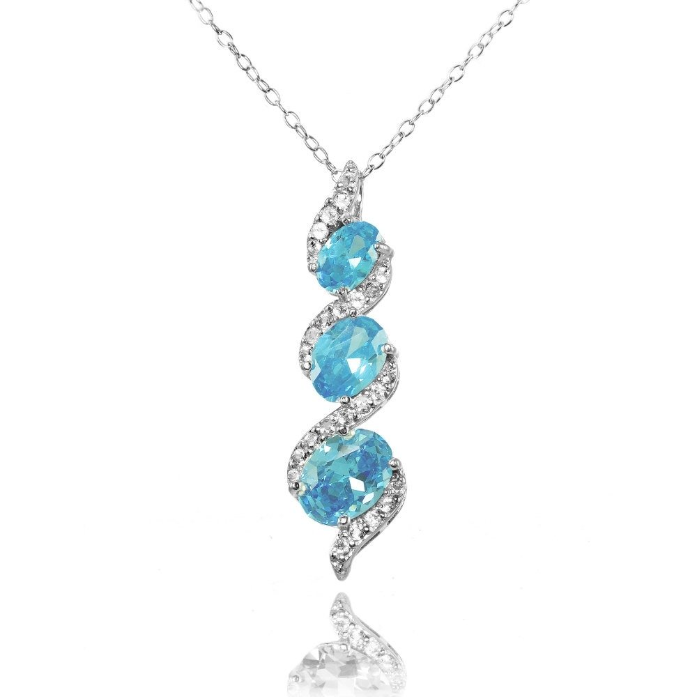 Ice Gems Sterling Silver Simulated Aquamarine and