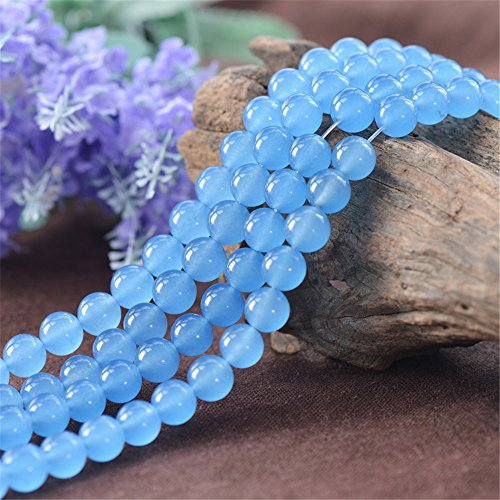 Grade A Natural Light Blue Jade Beads 6mm 8mm 10mm 12mm Smooth Polished Round 15 Inch Strand JA21 -