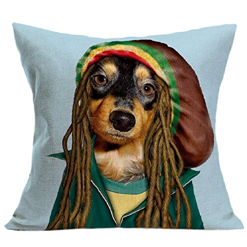 Ikevan Fashion Network Famous Dog Clothes Pillowcase Vintage Cute Dog Pillow Case Sofa Waist Throw Cushion Cover Home Decor (18