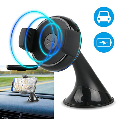 (Wireless Car Charger Mount, EEEkit Automatic Qi Wireless Charger Dashboard Holder Cradle for iPhone X 8 Plus Samsung Galaxy S10/S10E S9/S8 Plus S7 Edge Note 9 8 5)