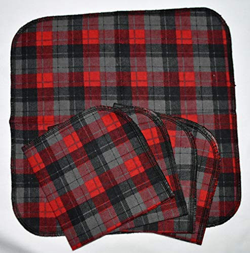 Red and Black Flannel Plaid 12x12 Set of 5-Cotton Napkins