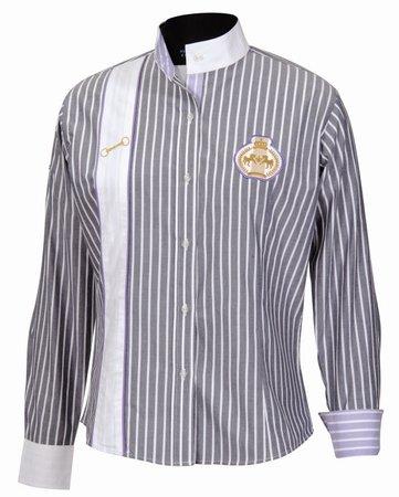 E COUTURE Equine Couture Ascot Show Shirt 34 Navy/Blue Viole