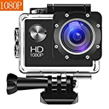 Bekhic Action Camera 12MP Full HD 1080P Waterproof Action Cam 30M Diving Underwater Camera with 10 Mounting Accessories, 140 Degree Wide Angle, IP68 Waterproof Case and 1050mAh Rechargeable