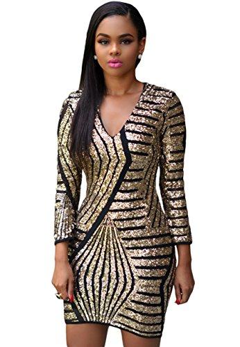 O&W V-Neck Long Sleeve Gold Sequin Dress