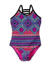 Ingear Girls Lattice Beach Sport One Piece Swimsuit UPF 50+ Sun Protection Caged Back