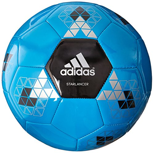 adidas Performance Starlancer V Soccer Ball, Solar Blue/Black/Metallic Silver, Size 5