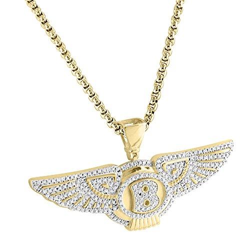 Luxury Car Logo B Pendant Sterling Silver Angel Wings Charm 14k Gold Finish  Chain