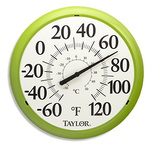 Taylor Precision Products Big and Bold Dial Thermometer (13.25-Inch, Green) (Garden Thermometers Outdoor)