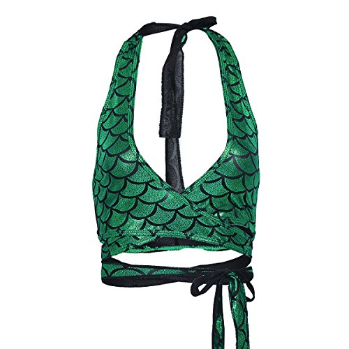 iiniim Women's Shiny Mermaid Fish Scale Halter Strappy Wrap Around Bra Top Rave Tops Green Free Size