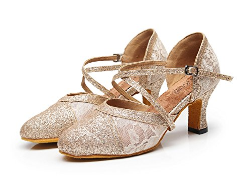 Strap Salsa Cm Dancing Pumps Shoes Latin Heel Party Ladies Formal 7 Minitoo Lace Cross Light Gold Ywx0qE0I6