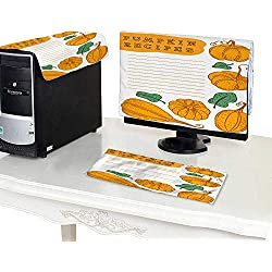 """CPU Dust CoverHand Drawn Vector Template for Cooking Book Lined Paper for Pumpkin Recipes 17"""" Monitor"""
