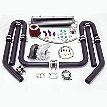 Universal High Performance Upgrade T70 9pc Turbo Kit (Silver Intercooler/Black Pipping)