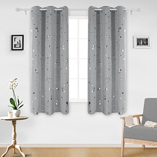 Deconovo Silver Dots Printed Thermal Insulated Blackout Grommet Curtains Light Grey Blackout Curtains for Bedroom 42 W x 63 L Light Grey 2 (Dot Window)