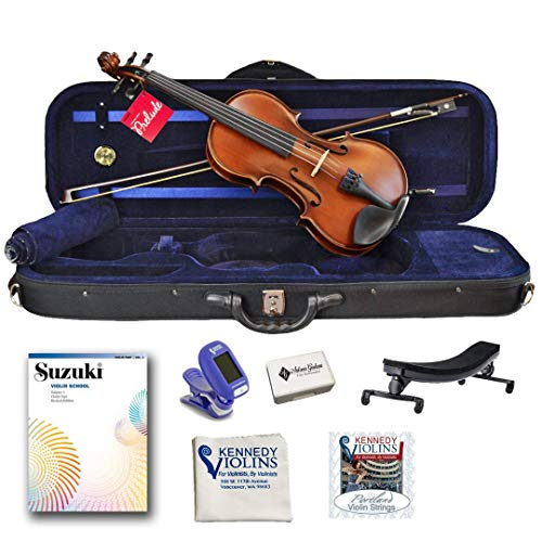 de Violin Outfit 4/4 Full Size with Shoulder Rest, Tuner, Rosin and Extra Strings from Kennedy Violins ()