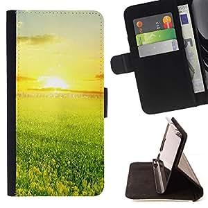 Momo Phone Case / Flip Funda de Cuero Case Cover - Verde y la puesta de sol - Samsung Galaxy J1 J100