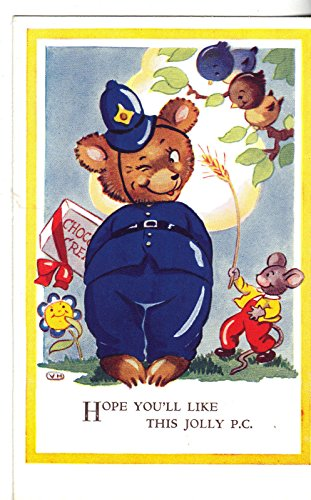 Teddy bear dressed as police officer with dressed mouse greetings pc Y1596