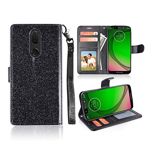 for Coolpad Alchemy (T-Mobile)/ Coolpad Legacy (Metro PCS)/ Alchemy Case Cute Girls Glitter Bling 3 Credit Card Slot Folio Magnetic Closure Wallet Sparkle Cover [Free Emoji!] (Black) (Cases Pcs Phones For Metro)