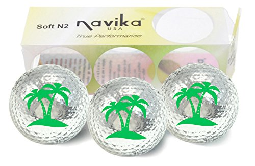 Hawaiian Golf Ball - Navika Golf Balls- Palm Tree Imprint on Silver Metallic Chrome High Visibility Color (3-Pack)