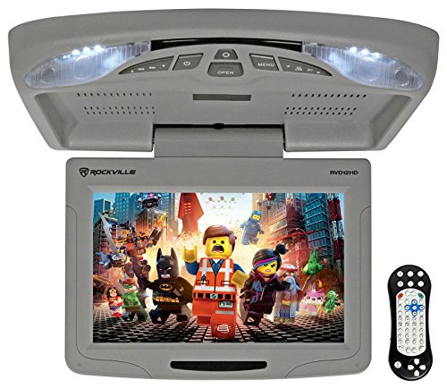 Rockville RVD12HD-GR 12″ Grey Flip Down Car Monitor DVD/USB/SD Player + Games