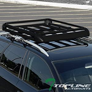 "Topline Autopart 49"" Black Square Type Roof Rail Rack Cross Bar Kit+Cargo Carrier Luggage Basket T1"