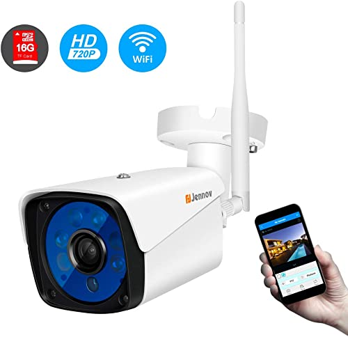 Wireless Security Camera,Jennov 720P Wireless WiFi Bullet IP Camera IP66 Waterproof Outdoor and Home Video Surveillance Camera Pre-Installed 16G Micro SD Card Motion Detection Night Vision