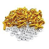 uxcell 40pcs M6 Gold Tone Aluminum Alloy Hex Socket Head Motorcycle Bolts Screws Nuts