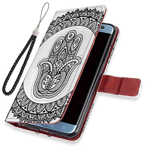 mophinda Phone Wallet Case Fit Samsung Galaxy S7 Edge (2016) Ethnic,Ancient Eastern Oriental Henna Hand and Mehndi Arabesque Tattoo Work of Art Print,Black White Bumper