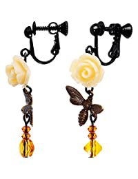 Body Candy Handcrafted Pollinating Bumble Bee Clip On Earrings Created with Swarovski Crystals
