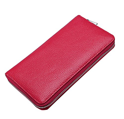 Folder Leather Card Package 4 Unisex Leisure Multi New Capacity Red Money Leisure red Wallet Card Genuine Slot High HopeEye wnzfxY6Y