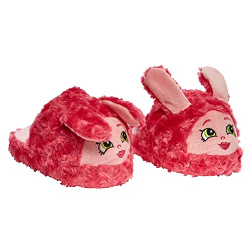 Stompeez Animated Shopkins Pink Bun Bun Plush Slippers - Ultra Soft and Fuzzy - Ears Flap as You Walk