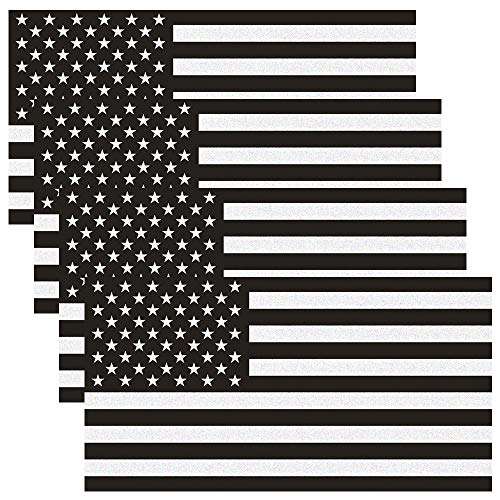 JumpyFire 4 Pcs American Flag Stars and Stripes US Flag Car Stickers, 2.6x4.5 Inch Black & White Vinyl Decals for Cars & Trucks (Flag With Stars And Black And White Stripes)