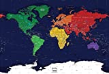 Academia Maps - World Map Wall Mural - Dark Ocean Political Map - Premium Self-Adhesive Fabric