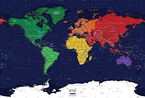 Academia Maps - World Map Wall Mural - Dark Ocean Political Map - Premium Self-Adhesive Fabric ()