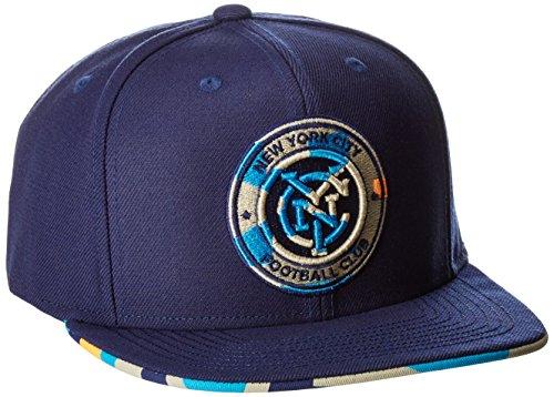 fan products of MLS New York City FC Adult Men MLS SP17 Fan Wear Box Pattern Flat Brim Snapback,Osfa,Blue