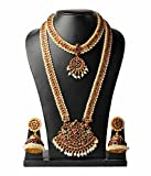 Necklace Set / Jewellery Set set Bharatanatyam Jewellery with all ornaments Made with Red quality Kemp stones WEDDING Set For Women By Manav Company