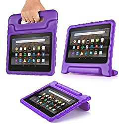 "TNP Case for All-New Fire HD 8 Tablet - Kids Shock Proof Soft Light Weight Childproof Impact Drop Resistant Protective Stand Cover with Handle for Fire HD 8"" Tablet 6th Gen 2016 Release (Purple)"