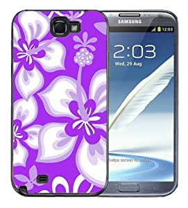 Samsung Galaxy Note 2 Black Rubber Silicone Case - Hibiscus Flowers Purple Design Pattern Print Hawaiian Tropical Style