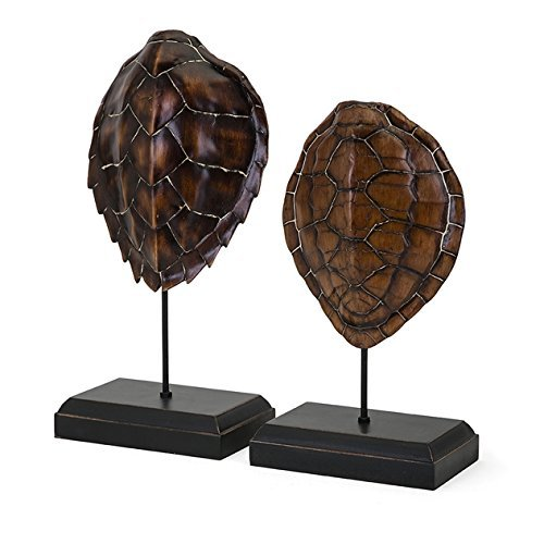 IMAX 78201-2 Sanem Turtle Shells on Stands - Set of Two -