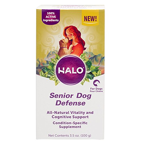 Halo Natural Supplements with Cognitive Support for Dogs, Senior Dog Defense, 3.5-Ounce Bottle