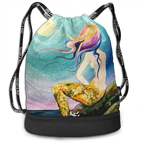 YyTiin Mermaid Cove Painting Tutorial Men Women Waterproof Drawstring Backpack Sports Dance Storage Bags Sackpack Gym Traveling Outdoor