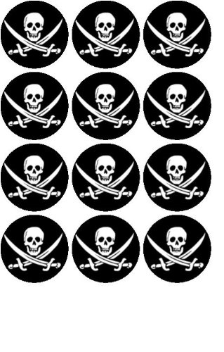 12 X1 5 38mm Pirate Skull Edible Rice Paper Fairy Cup Cake