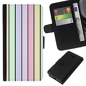 KLONGSHOP // Tirón de la caja Cartera de cuero con ranuras para tarjetas - Rayas Colores Pastel Luz Verde - LG OPTIMUS L90 //