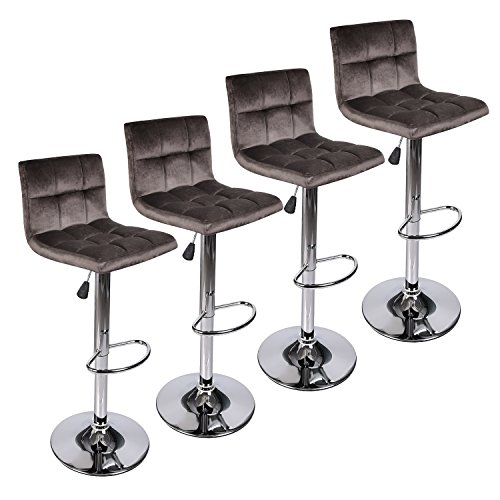 Square Back Modern Hydraulic Adjustable Swivel Bar Stools, 360 Degree Rotation, Dark Brown, Set of 4