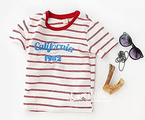 ( AngelKids ) ロゴ入り ストライプ 半そで Tシャツ ベビー キッズ ジュニア マリン 春 夏 (110㎝, 赤) …