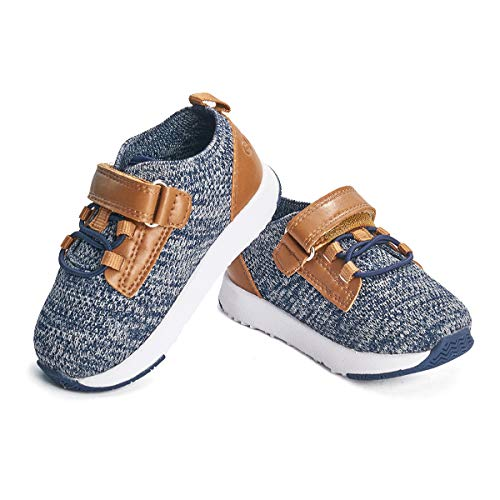 CRTARTU Baby Shoes Boys Girls Prewalker Shoes Baby Sneakers Anti Slip Toddler Shoes Flexible to 0-5 Years Old Baby Walking Shoes, Navy