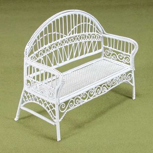 Dollhouse Miniature White Enamel Wire Patio Bench Furniture Aztec Imports Inc.
