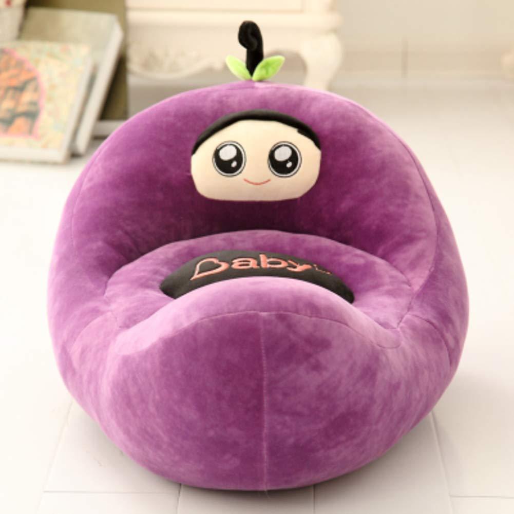WAYERTY Children Sofa, Kid Chair Lazy Couch Cartoon Plush Toy Fruit Seat Stool Cushion Birthday Gift-Purple W55xH50cm(22x20inch)