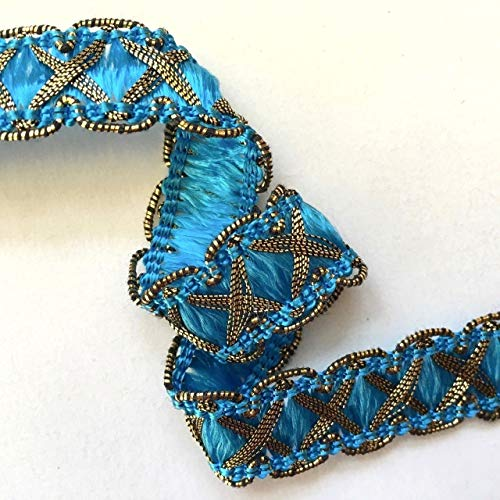Turquoise/Metallic Gold Crossover Braid Sold by The Yard ndKE -564